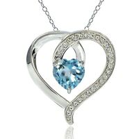 Sterling Silver 2.4ct TGW Blue Topaz & White Topaz Heart Necklace