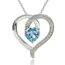 Sterling Silver 2.4ct TGW Blue Topaz & White topaz Heart Necklace
