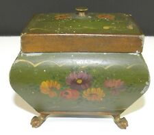 ANTIQUE Small TOLE Painted TIN DOME TOP Convex Sides METAL BOX Claw Feet HINGED
