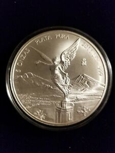 2011 Mexico 5oz Silver Libertad Coin MS In Capsule Low Mintage HARD TO FIND
