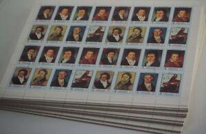 1972 Ajman; 1000 Serien Beethoven (8000 Briefmarken!), gest., MiNr. 1336/43A