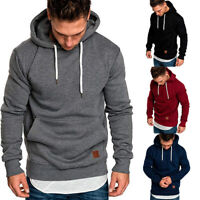 Men Long Sleeve Solid Sports Hooded Sweat Hoodies Pullover Sweatshirt Plus Size