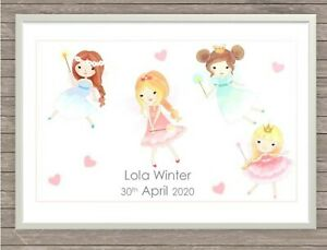 Personalised Children's Baby's Name Plaque,Print for bedroom / nursery - FAIRIES