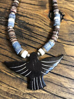 """#1108 Vintage Carved Eagle Black Thunderbird Fetish, 18"""" Heishi Necklace, Silver"""