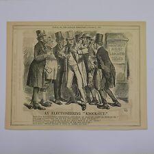 """7x10"""" 1866 Punch Cartone Animato un elettorali KNOCK-OUT"""