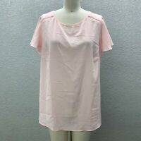 NWT Lane Bryant Tunic Top Blouse Women's 14 Pink Light Flowy Short Sleeve Casual