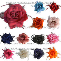 ROSE HAIR CLIP LARGE ROSE FASCINATOR ROSE HAIR ACCESSORIES CLIP ELASTIC WEDDING