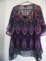 Elementz Womens Top Shirt Tunic Plus Size 2X Peasant Boho  Short Sleeve