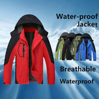 Men Jacket Windproof Waterproof Full Zipped Rain Outdoor Camping Hiking Coat