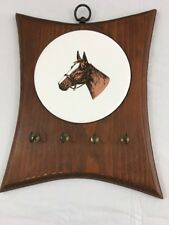 "Vintage Wood Horse Key Holder Wall Plaque 12"" X 10"""