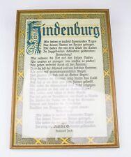 """Gerahmtes Bild Gedicht """"Hindenburg"""""""
