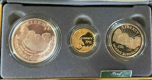 1991 Mount Rushmore Anniversary 3 Coin Proof Set w/.2419oz $5 Gold w/case