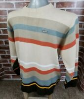 SOUTHPOLE Striped Long Sleeve Sweater Mens Size XL Brown Blue Orange Yellow