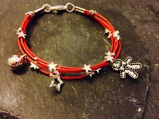 Silver Plated Star Cord Bracelet Pendant Charms Christmas Gingerbread Man Red
