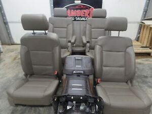 2014-2018 GMC CHEVY TAHOE MOCHA LEATHER FRONT/REAR SEATS W/CONSOLE 2ND 3RD ROW