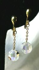 Gold Chain Lever Gift Box Sparkling! Vintage Crystal Prism Clip Earrings Dangle