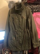 Womens Size 8 Green Parka Jacket With Gold Stud Detail, Pockets