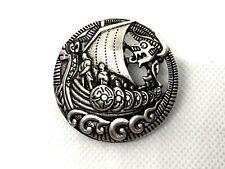 Viking ship nautical dragon brooch pin longboat silver color novelty GIFT #24