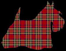METAL MAGNET Tartan Silhouette Scottish Terrier Black Background Dog Dogs