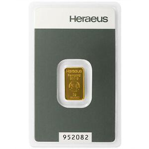 2g 2 g 2 Gramm Goldbarren Heraeus Kinebar Feingold  mit Zertifikat in Blister