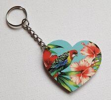 Handmade Wooden Heart Keyring Keychain Beautiful Tropical Parrot Bird Print