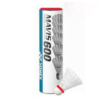 Yonex Mavis 600 (6) Nylon Badminton Shuttlecocks White - Red Cap