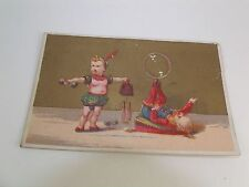 Victorian Card Circus Performers Balance Weight Lifting Giant Bubble Nice Image
