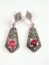 Art Deco Ohrringe Silber 925 mit rotem Spinell und Markasiten