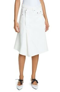 NWT Proenza Schouler Asymmetrical Denim Skirt in Off White Size 0 $690