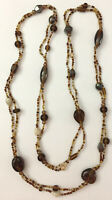 Vintage Long Strand Beaded Shades of Brown Seed Bead Glass Bead Necklace 42""