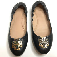 TORY BURCH Melinda Ballet Flats Black Leather Gold Logo Womens Shoes Size 7.5M