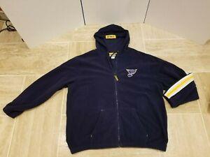 NHL Blue Full Zip Fleece Jacket St. Louis Blues Hockey Team XL Long Sleeve sweat