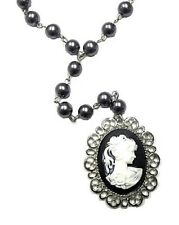 Silver Grey Pearl Cameo Necklace Gothic Victorian Antique Vintage Style Pendant