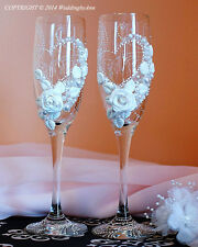Personalized Wedding Champagne  Glasses, Handmade Toasting Flutes, Bridal Shower