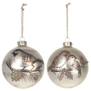 Ganz H8 Christmas Lodge Bird Glass 4in Ornament 2pc Set EX26511
