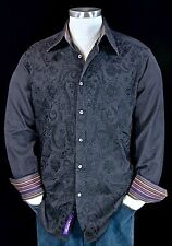 "Robert Graham ""Tequilla"" Black Embroidered Masterpiece Rare Sports Shirt Medium"