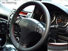Per Mazda Premacy 99-04 NERA PELLE ITALIANA Volante Copertura rosso cuciture