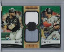 GIANCARLO STANTON/MARCELL OZUNA 2018 Topps Tribute Dual Jersey Green (D1958)