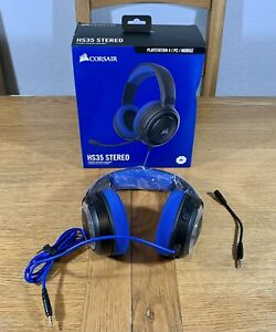 Corsair HS35 Wired Stereo Gaming Headset Headphones PC / PS4 Detachable Mic Blue