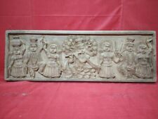 Vintage Krishna Handcrafted Temple Wall Panel Wooden Statue Sculpture panel Rare