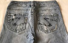 Women's Junior's Silver Bootcut Flare Low Rise Blue Jeans Size 27W x 31 1/2L