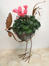 COCKERAL CHICKEN PLANTER GARDEN ORNAMENT OUTDOOR METAL & RESIN RUSTIC STYLE