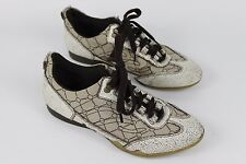 Bullboxer Size 38 EU 7 US Cream & Brown Canvas & Cracked Leather Flats Shoes