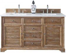 "James Martin 60"" Savannah Driftwood Double Bathroom Vanity With White Quartz Top"