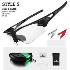 RockBros Photochromic Sunglasses Polarized Lens Cycling Goggles Christmas Gift Style 3 Black