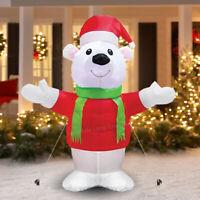 4FT LED Standing Polar Bear Christmas Outdoor Inflatable Figure Celebration Snow