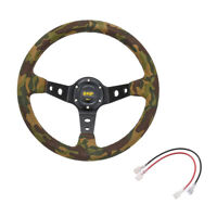 Universal Racing Sport OMP Style 345mm Aluminum Deep Dish Steering Wheel Stitch