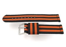 New 20mm Nylon 2 Piece Watch Band Strap Black and Orange