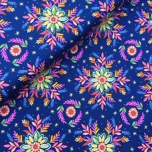 Gypsy Dreams blue yellow pink floral flowers 100% cotton Fabric X HALF METRE