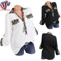 Women Long Sleeve Blouse Loose Tops Leopard Print V Neck Office Casual Shirt US